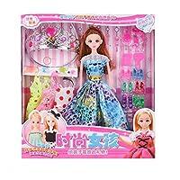 Huangyingui ファッション 女の子 プリンセス 人形 ハンドメイド デイリーファッション カジュアル衣装 セット 人形 遊び 家 女の子 人形 ウェディング 人形 おもちゃ ギフトボックスセット (カラー:C)