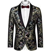 COOFANDY Men's Paisley Floral Party Dress Suit Stylish Dinner Jacket Wedding Blazer Prom Tuxedo