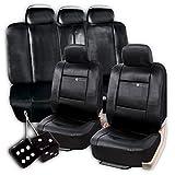 Amazon.co.jpユニバーサル フィット 高品質 高級 装飾 PUレザー フルセット ソリッドブラック シートカバー フルセット + クラシックブラックのハンギング ファジー ダイス セット