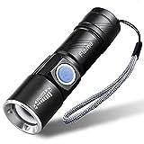 Flame 懐中電灯 超小型 LED ライト USB充電式 ハンディライト 高輝度 防水 防災 ズーム機能付 (ブラック)