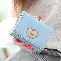 フルーツプリント女性ショート財布 (ライトブルー)