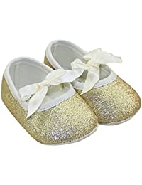 LINKEY Baby Gril's Soft Sole Anti Slip Mary Jane With Ribbon Bowknot Bling Bling Prewalker Sparkly Flat Shoes...