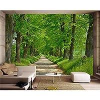 Ansyny カスタム壁紙3d森林大通り風景自然現代の森パスウォールステッカーリビングルームの寝室の壁画壁紙-160X120CM