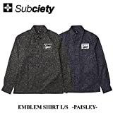 (サブサエティ) SUBCIETY EMBLEM SHIRT L/S PAISLEY シャツ ペイズリー 総柄 (S, ネイビー)