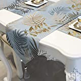 [実りの秋]テーブルランナー 北欧風 葉柄 長方形 タッセル付き 撥水性 シック 高級感 モダン 洗える おしゃれ 厚手 良い手触り テーブルセンター デコレーション 撮影背景 インテリア ブルー 32*160CM