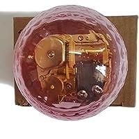 クリエイティブWind - Upアクリルプラスチック透明音楽ボックスwithメッキ。動きで、様々な形状ミュージカルボックス、Moon River Ball-shaped Pink ピンク