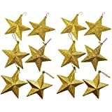 asaichi 星 スター 型 9cm クリスマス パーティー ツリー オーナメント 壁 装飾 飾り ペンダント デコレーション アレンジ クリスマスツリー コーディネート (ゴールド 9cm 12個)