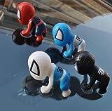 4色セット 吸盤付きスパイダーマン アクセサリー 車内や家の窓に ♪ フィギュア 赤黒青白セット