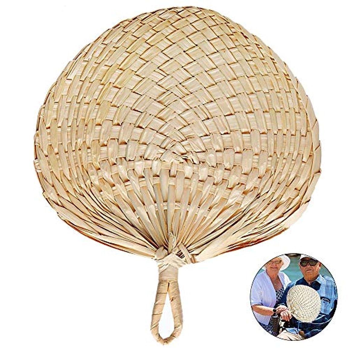 利得認識音ハンドヘルド 扇風機,超冷たい風 手作り 冷風器,夏の天然竹 ファン 5個