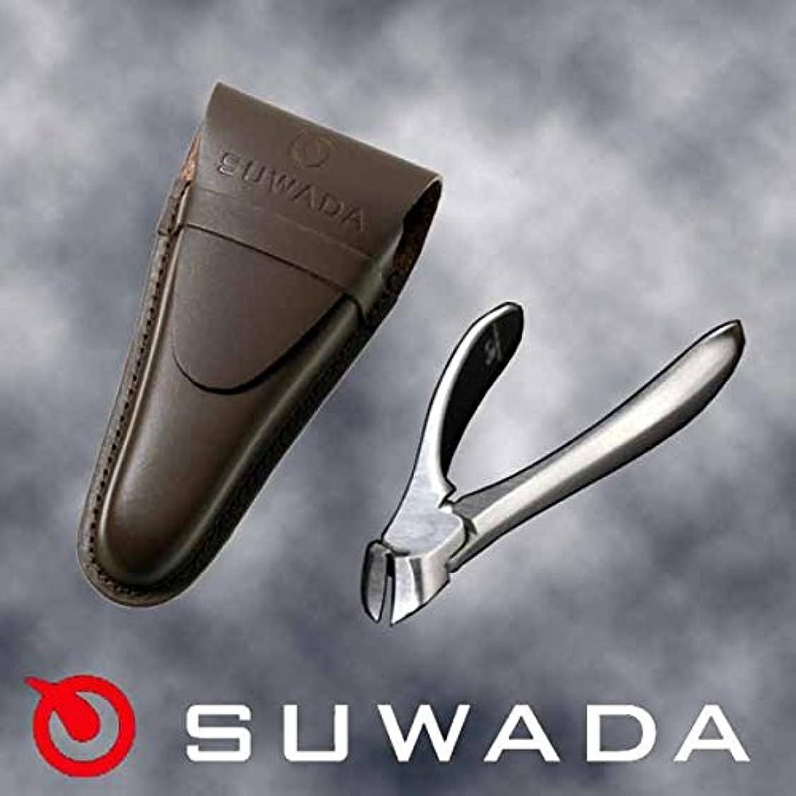 かすれたスリム飛躍SUWADA爪切りクラシックS&ブラウン(茶)革ケースセット 特注モデル 諏訪田製作所製 スワダの爪切り