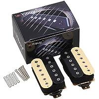 Yibuy 一対 黒+黄 ロック ヒップポップのため 古典的な金属ハムバッカー ギターピックアップ