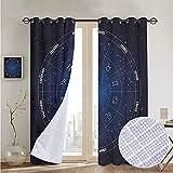 NUOMANAN リビングルームカーテン 占星術 スノードーム 星座 調節可能なタイアップシェード ロッドポケットカーテン 100