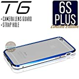 iPhone6s Plus ケース T6 メタルバンパー 高品質アルミ製 カメラレンズガード・ストラップホール付 (iPhone6s Plus, ロイヤルブルー x シルバー)