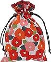 巾着袋 裏地付き 和柄 花椿 白×赤 ご朱印帳袋 日本製 和小物 和雑貨 浴衣 小物