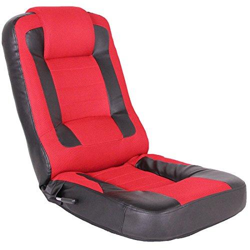 タンスのゲン レーシング 座椅子 メッシュ レバー式 14段階 リクライニング パーソナルチェア ゲーミングチェア レッド 15110004 RE