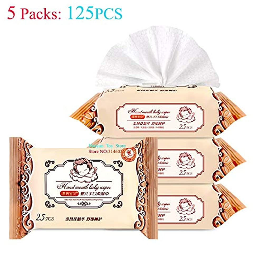 石の豚肉見るBSKR パッケージ5(25 /袋)はワイプと赤ちゃんの肌野外キャンプ活動を戦っ生分解クリーニングと清涼ワイプ (色 : 5pcs One set)