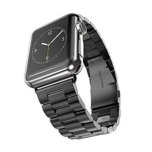 アップルウォッチバンド Wollpo® apple watch Apple Watch バンド 金属 Apple Watch に専用 バンド ステンレス アップルウォッチ 交換バンド ステンレス留め金製 (ステンレス, 黒42mm)