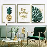 はがきアートリビングルームのベッドルームやオフィスのインテリアのために3枚のパネルキャンバスウォールアートを印刷言っ絵画緑の葉の植物 装飾 軽くて取り付けやすい (Color : 3 Panels, Size : 70x90cm)