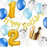 誕生日 パーティー 飾り付け ハーフバースデー クラウン ゴールド コンフェッティバルーンガーランド パーティーハット風船 ブルー1歳 2歳 [BIRTHDAY DECO] (男の子1?2)