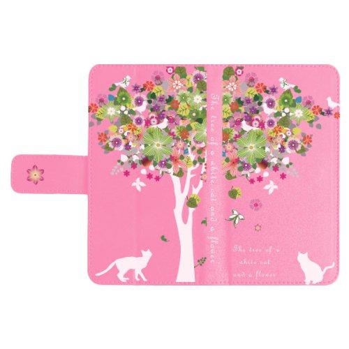 AQUOS PHONE EX SH-02F 手帳 スマホケース まもるくん スライド式 手帳型ケース カバー カードホルダー 1879白猫と花の木 手帳スライドSピンク