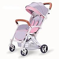 YANGFEI ベビーカー ベビーカートは座る/軽い折り畳み可能な傘のトロリーを履くことができます四輪EVAの泡の衝撃吸収銀のアルミニウム合金サンシェード抗UV太陽の保護赤ん坊の運送 ショックアブソーバタイヤ (色 : Pink)
