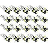SUCOOL  LED 5連LED 20個セット T10 ウエッジタイプ ウエッジ球 LEDバルブ  12V車用ホワイト 長寿命 5SMD