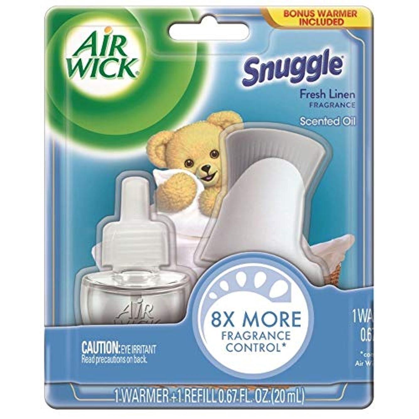 クランプ有効な散歩Air Wick 香りのオイル?エア?フレッシュナースターターキット、抱擁新鮮なリネン、1カウント(4パック)