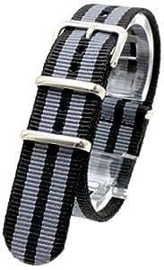 [2PiS] ( トリプルブラック・ダブルグレー : 20mm ) NATO 腕時計ベルト ナイロン 替えバンド ストラップ 交換マニュアル付 12-1-20
