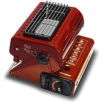 SEIKOH カセットガスストーブ 小型 キャンプ 電源不要 角度調節可能 レッド 赤 取っ手付 カセットボンベ式