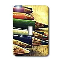 3drose LLC lsp _ 42665_ 1学校days- Colored pencils- Artistic写真、単一切り替えスイッチ