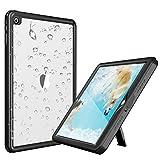 Deepsonic iPad Pro10.5 防水ケース タブレットケース 耐衝撃 IP68防水規格 耐衝撃 薄型 全面保護アイパッドカバー スタンド機能 安心感 ストラップ付き アウトドア キッチン プールiPad pro 10.5 (黒+透明)