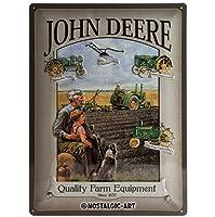 John Deere Man & Boy large embossedメタルサイン4030