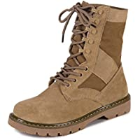 Gaorui Women's Cuff Lace Up Military Combat Boots Ankle High Hiking Lace-Up Boot Mid Knee High