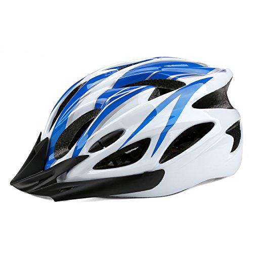 OYISIYI 自転車 ヘルメット MTB ロードバイク サイクリング ヘルメット 198g 18穴 サイズ調整 頭守る 男女兼用 3色選択可 (ブルー+白)