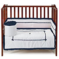 Baby Doll Bedding Unique Mini Cirb/ Port-a-Crib Bedding Set, Navy by BabyDoll Bedding