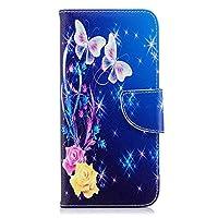 OMATENTI Huawei Honor 7A / Huawei Y6 2018 ケース カード収納 おしゃれ 高級感 手帳型ケース 衝撃吸収 落下防止 防塵 人気 花柄カバー, マグネット開閉式 プロテクター Huawei Honor 7A / Huawei Y6 2018 対応, 青い蝶-1