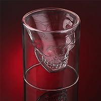 Kicode ハロウィンスカルカップ ワインヘッドショットグラス 楽しい創造的な飲み物ウイスキークリスタル パーティードリンク用品 4つのサイズ