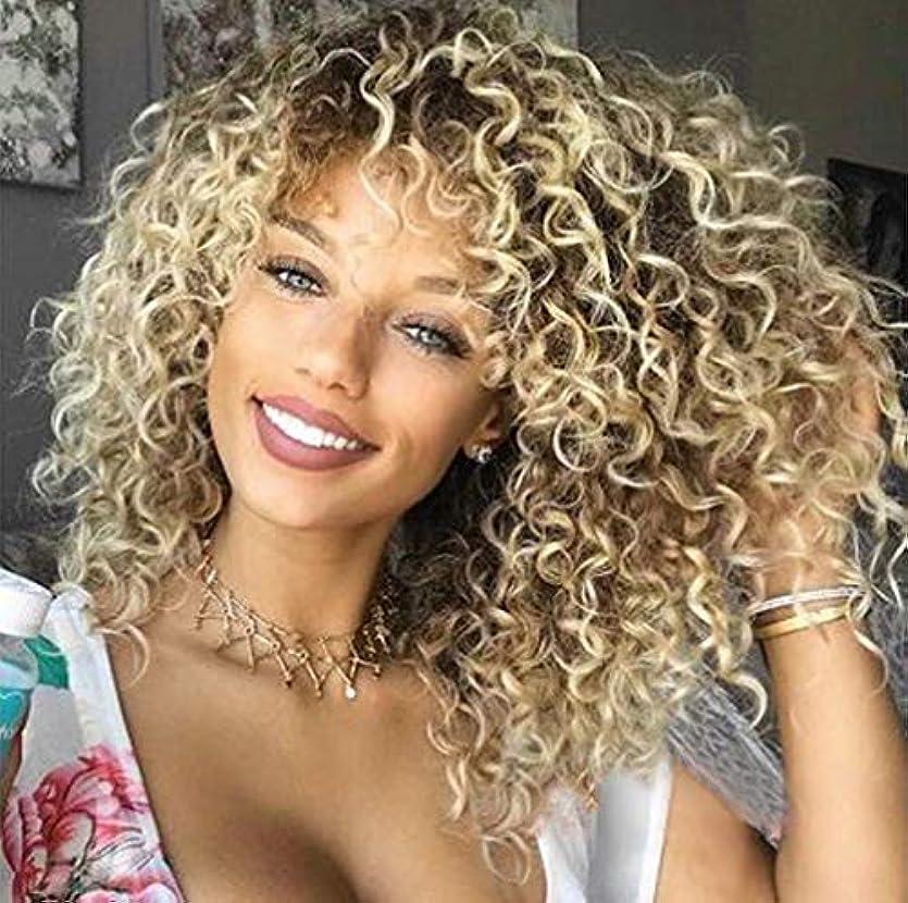 憧れくつろぐ離婚女性ブラジルレミーフルウィッグ150%密度カーリーヘアウィッグナチュラルゴールド45cm