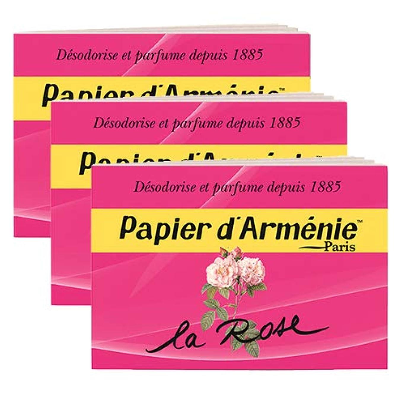 大破変形誤【パピエダルメニイ】トリプル 3×12枚(36回分) 3個セット ローズ 紙のお香 インセンス アロマペーパー PAPIER D'ARMENIE [並行輸入品]