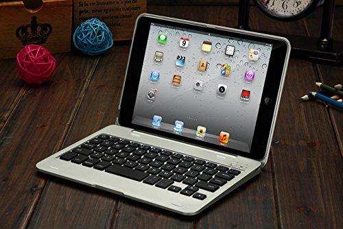 マーサ・リンクF1 iPad mini初代/mini2/mini3通用 Bluetooth ワイヤレス キーボード ハード ケース ノートブックタイプ (ブラック、シルバー、ピンク、レッド)4カラー選択 F1 ABS Case Keyboard for iPad mini2/mini3 with iPad mini 7.9inch (iPad mini1/2/3, シルバー)