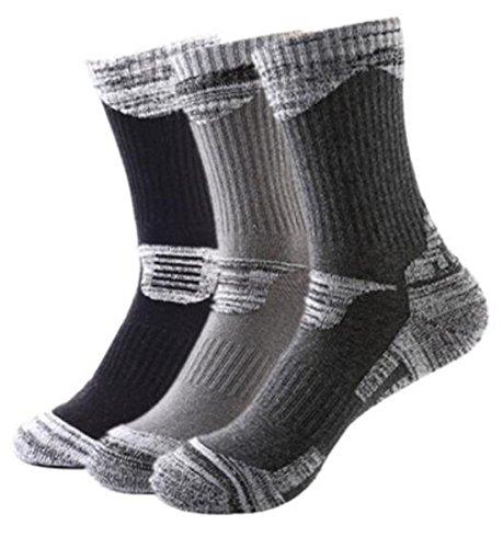 アウトドアウェア トレッキング 登山用ソックス 男性靴下 3足入り (ブラック1足xダークグレー1足xグレー1足)