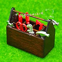 bobominiworldメタルガーデンアウトドアツールin木製ボックスドールハウスミニチュア装飾1 : 12スケール長4.6 CMブラウン