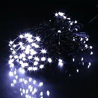 電光ホーム イルミネーション ストレート [ 8パターン 発光 ] 屋外 防水 防雨 クリスマス DIY 30m LEDライト 300球 ブラックケーブル (ホワイト)