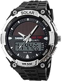 メンズ セイコー ソーラー 電波 せいこううでどけい レディース ストップウォッチ付き個性的な腕時計 アラーム ダブルタイム カウント ダウン 日本製電源と機軸 デジタル多機能 50M防水性 led watch 学生時代ファション うで時計 アウトドアウォッ チ