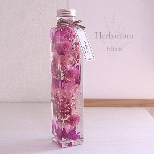 ハーバリウム[角瓶ピンク系,1本]プリザーブドフラワー ドラ...