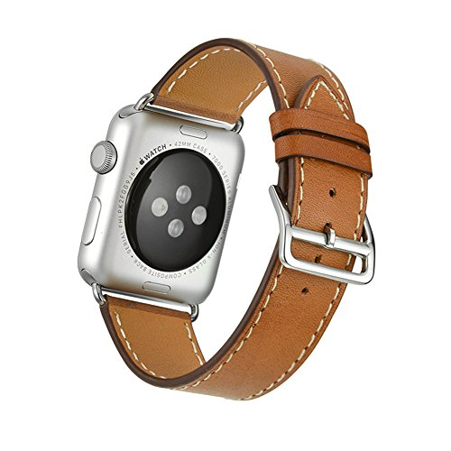 Apple Watch Band Wollpo® 本革 交換バンド 高級 レザー ビジネス用 腕時計ベルト Real Leather Watchband for Apple WatchApple Watch 本革 交換バンド 高級 レザー ビジネス用 腕時計ベルト Real Leather Watchband for Apple Watch (38mm, 褐色)
