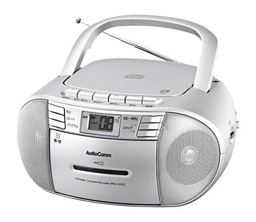 AudioComm ワイドFM CDラジオカセットレコーダー シルバー_RCD-550Z-S 07-9805