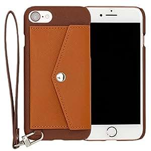 RAKUNI Light PU Leather Case Pocket Type with Strap for iPhone 7 (ブラウン) PUレザー カードケース カバー ストラップホール付き RCP-7-BR