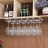 Jia He バーアクセサリー ワインラック、固体大胆な錬鉄材料ハンギングカップホルダー赤ワインカップホルダーワインキャビネット逆さまラックゴブレット、3色、6サイズ ## (Color : White, Size : 60x22.5cm)