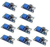 KKHMF 10個 2A DC-DC ブーストステップアップ 転換モジュール Micro USB 2V-24V to 5V-28V 9V 12V 24V